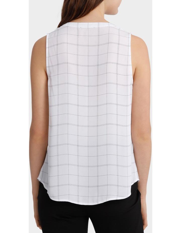 Collarless Sleeveless Shirt - Grid Print image 2