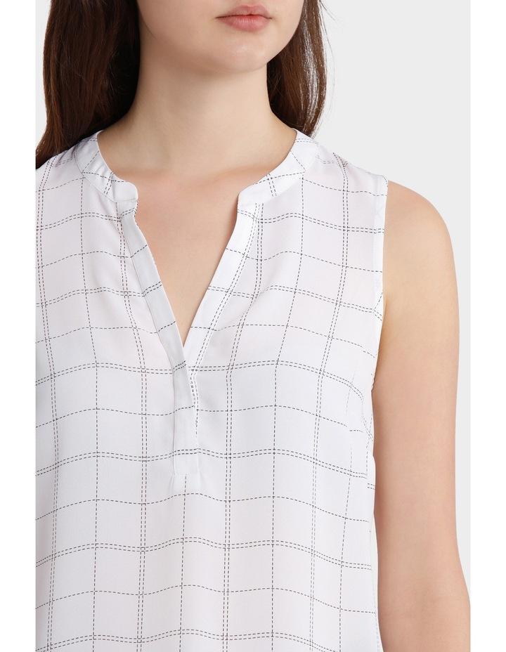 Collarless Sleeveless Shirt - Grid Print image 3