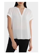 Tokito - s/s satin trim shirt - white