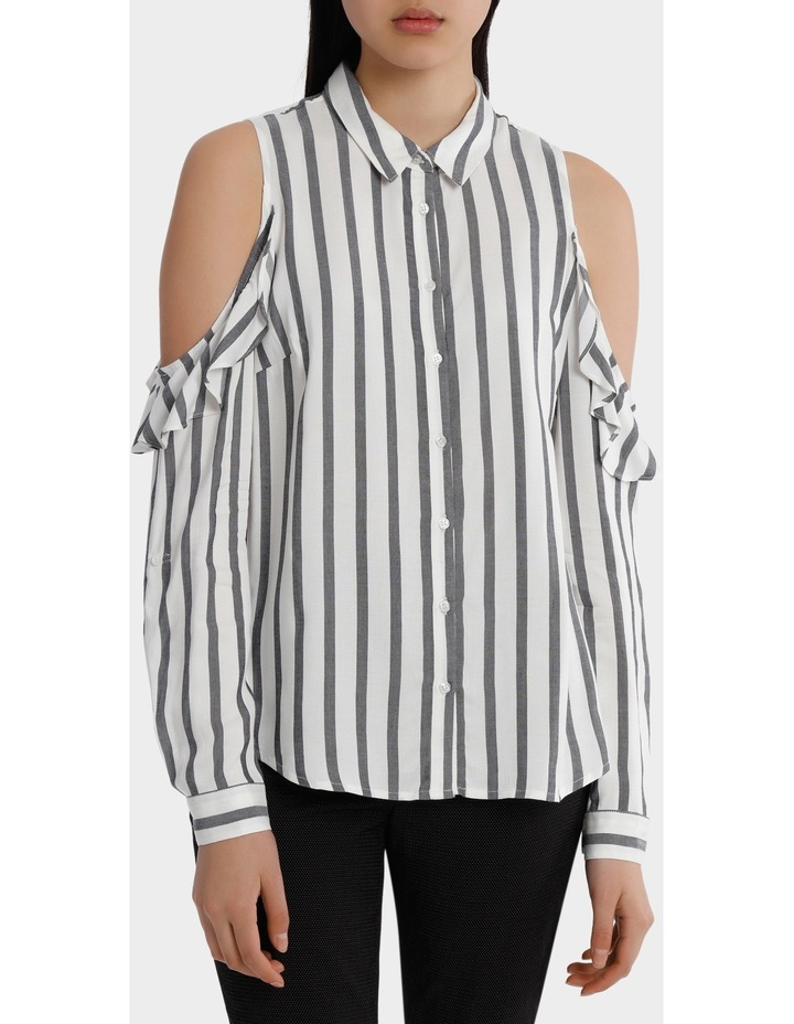 Ruffle Cold Shoulder Shirt - Navy/White Stripe image 1