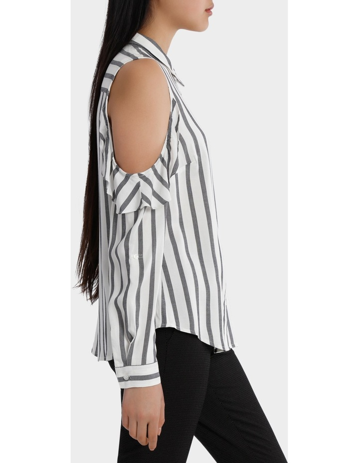 Ruffle Cold Shoulder Shirt - Navy/White Stripe image 2