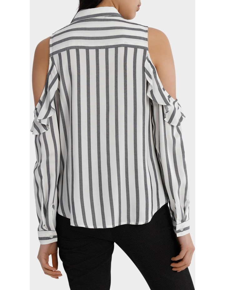 Ruffle Cold Shoulder Shirt - Navy/White Stripe image 3