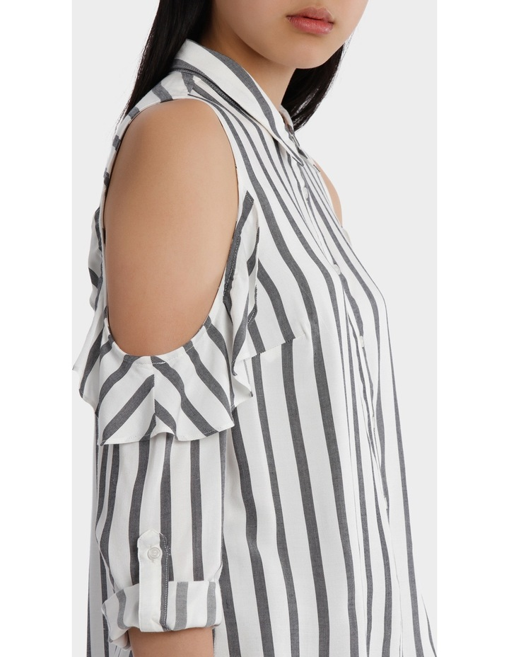 Ruffle Cold Shoulder Shirt - Navy/White Stripe image 4