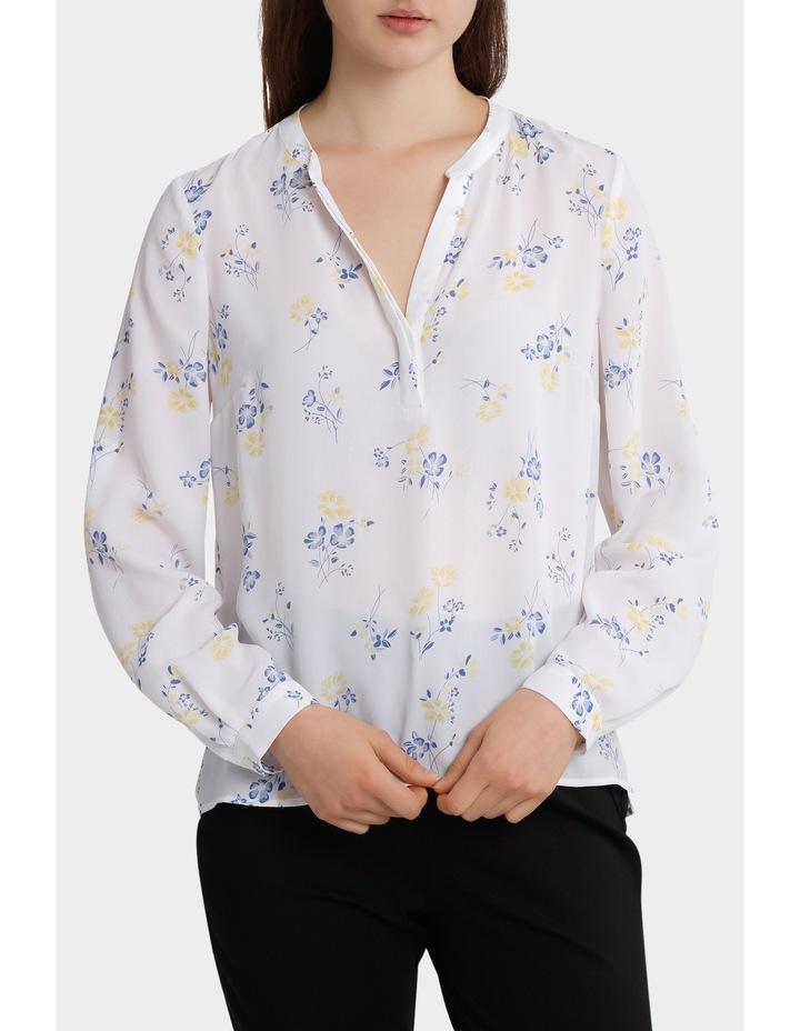 roll sleeve collarless shirt - poppy print image 1