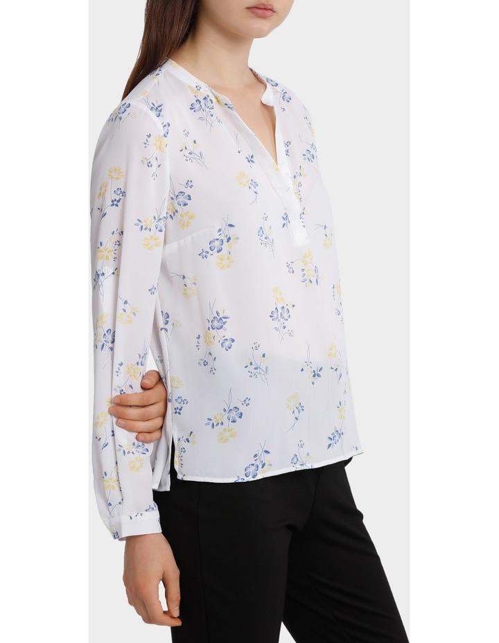 roll sleeve collarless shirt - poppy print image 2