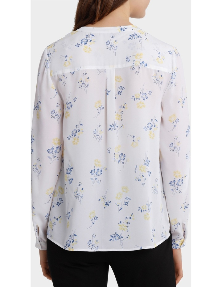 roll sleeve collarless shirt - poppy print image 3