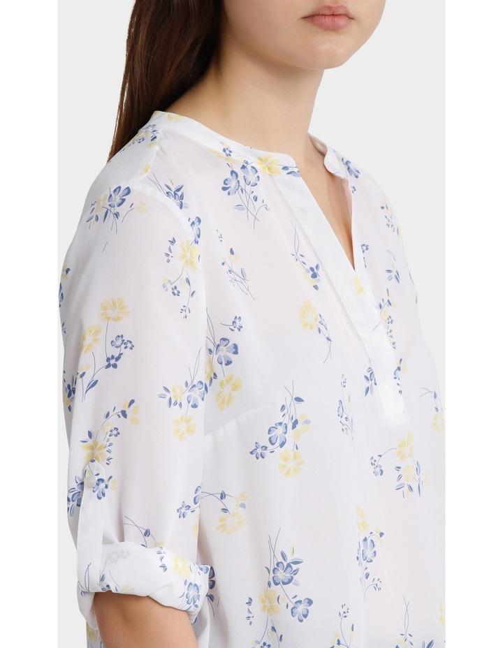 roll sleeve collarless shirt - poppy print image 4