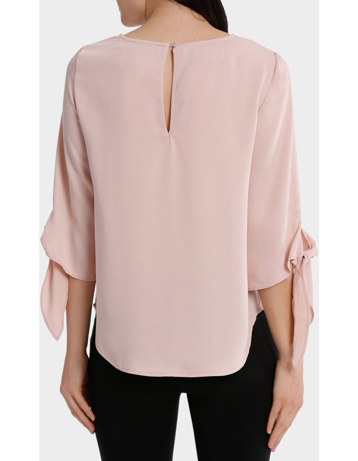 tie flute sleeve blouse image 3