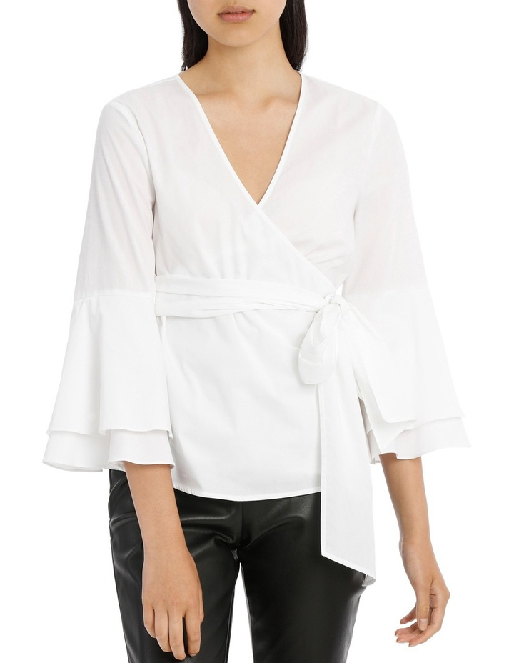 Wrap Shirt with Tiered Sleeves - White image 1