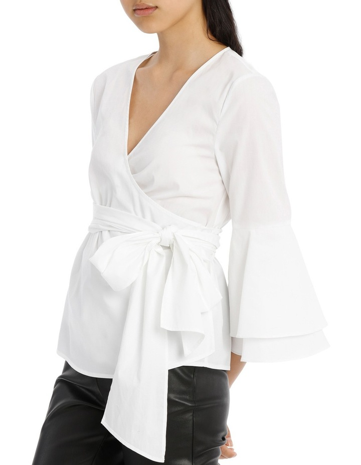 Wrap Shirt with Tiered Sleeves - White image 2