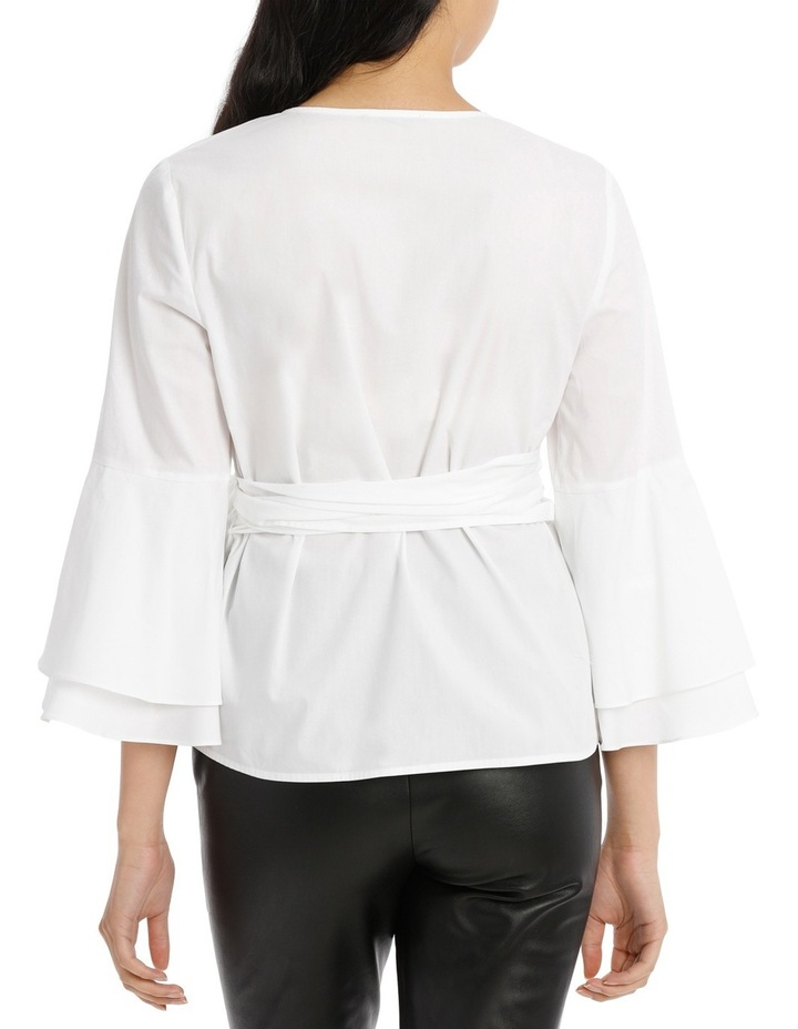 Wrap Shirt with Tiered Sleeves - White image 3