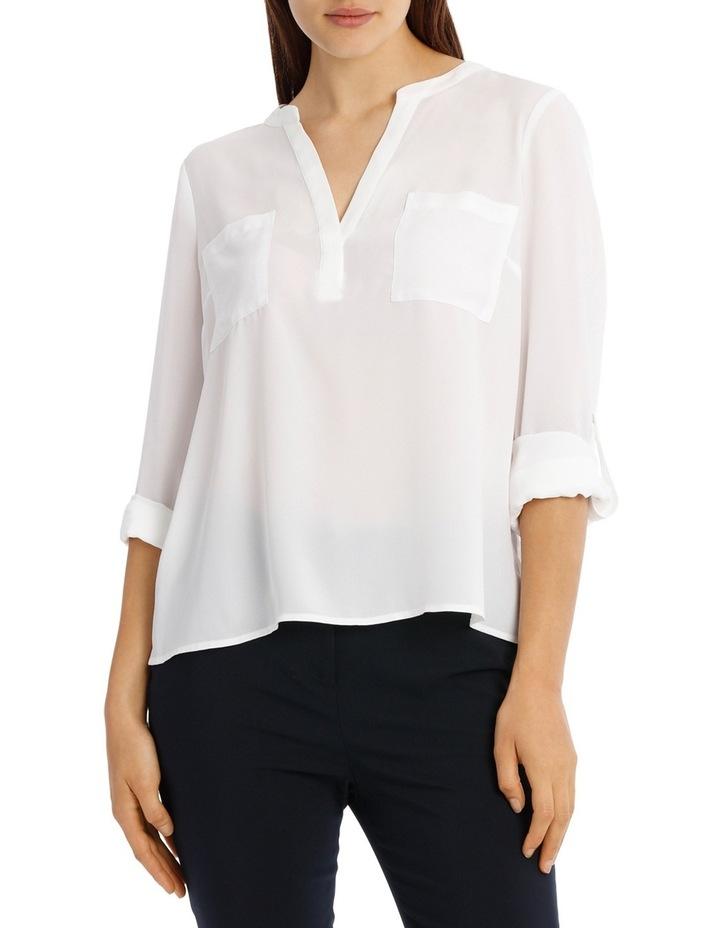 Collarless Double Pocket Shirt - Bright White image 1