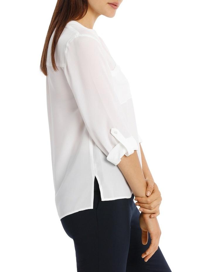Collarless Double Pocket Shirt - Bright White image 2