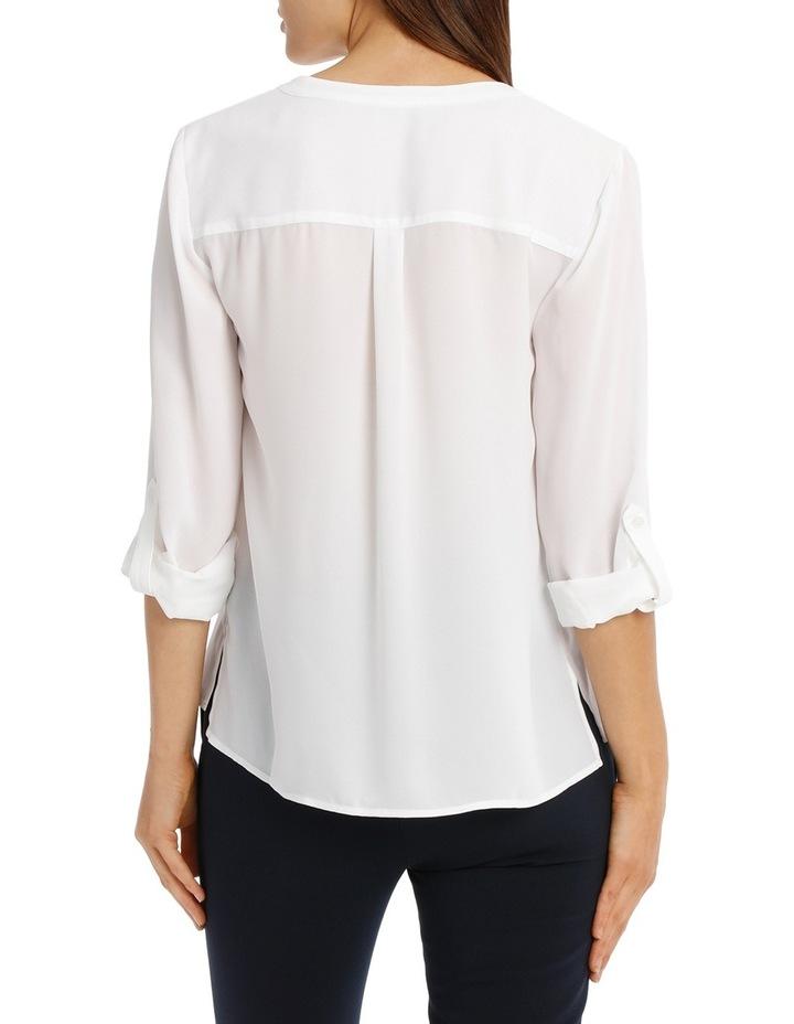 Collarless Double Pocket Shirt - Bright White image 3