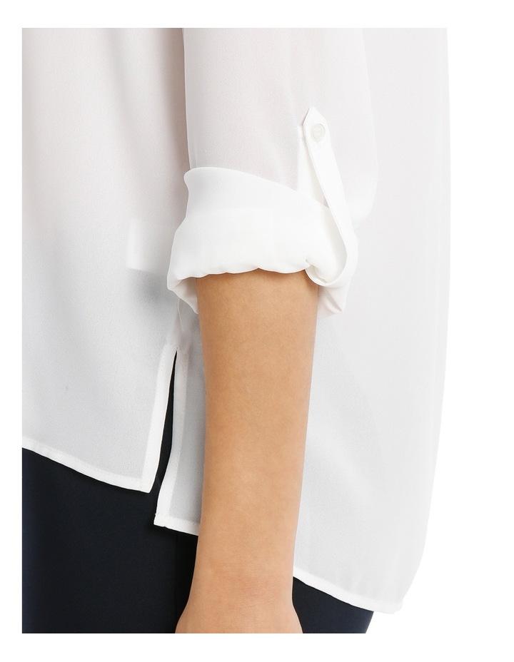Collarless Double Pocket Shirt - Bright White image 4