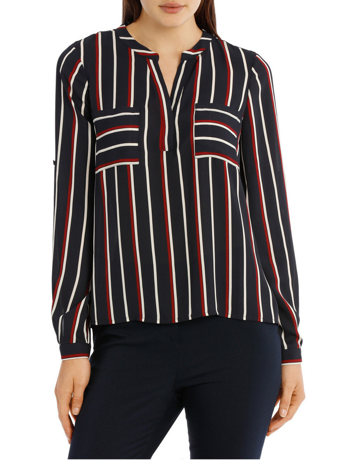 Collarless Double Pocket Shirt - Stripe image 1