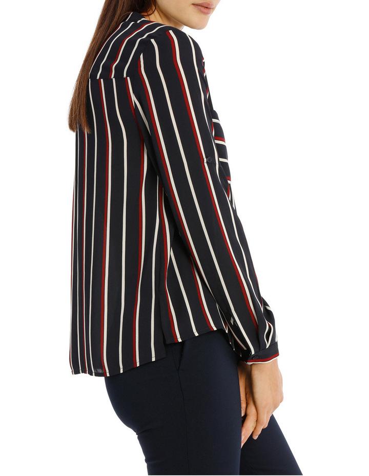 Collarless Double Pocket Shirt - Stripe image 2