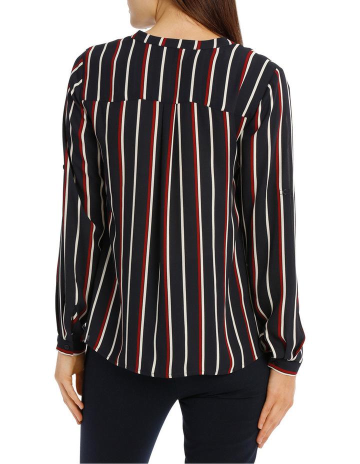 Collarless Double Pocket Shirt - Stripe image 3