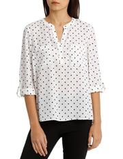 Tokito - Collarless Double Pocket Shirt - Dot Print