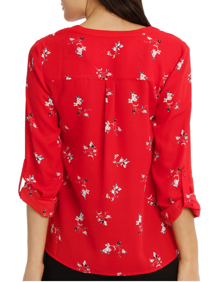 Collarless Double Pocket Shirt - Poppy Ditsy image 3