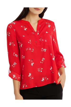 Tokito - Collarless Double Pocket Shirt - Poppy Ditsy
