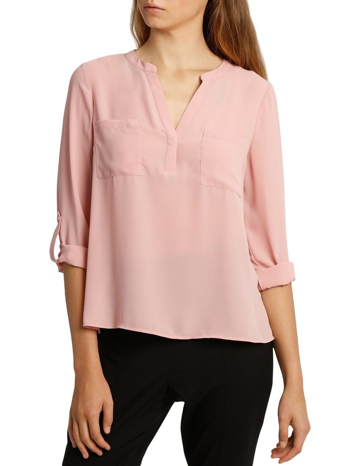 Collarless Double Pocket Shirt - Pink image 1