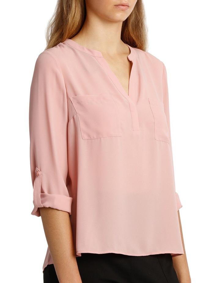 Collarless Double Pocket Shirt - Pink image 2