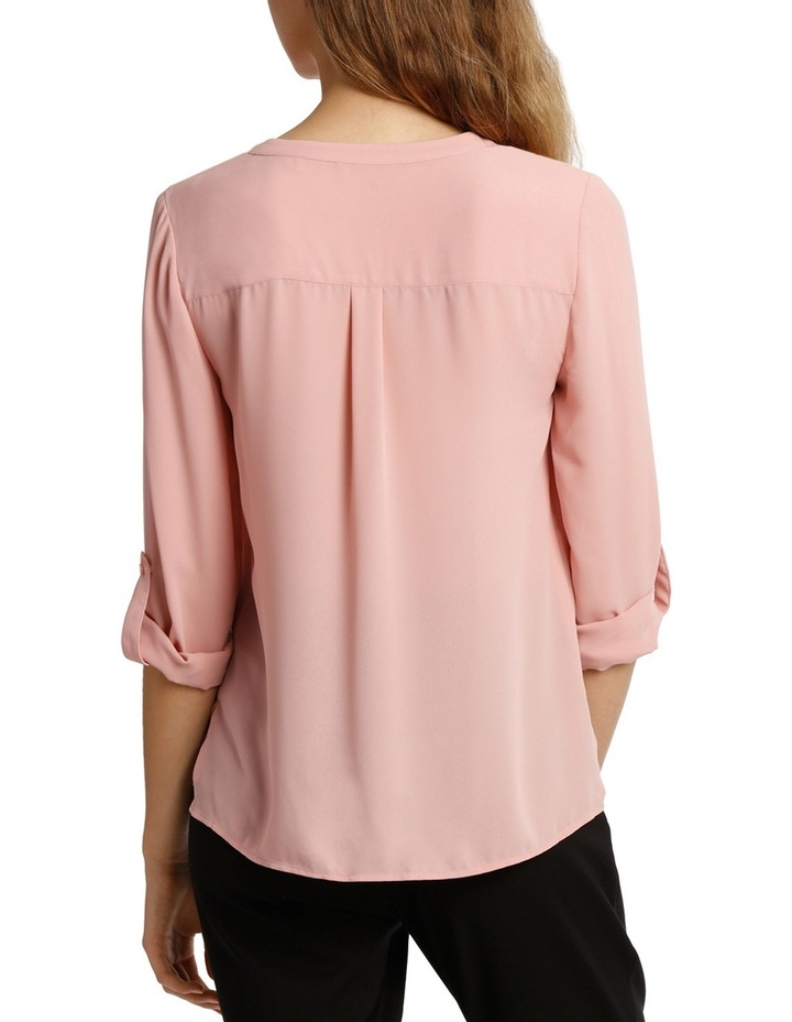Collarless Double Pocket Shirt - Pink image 3