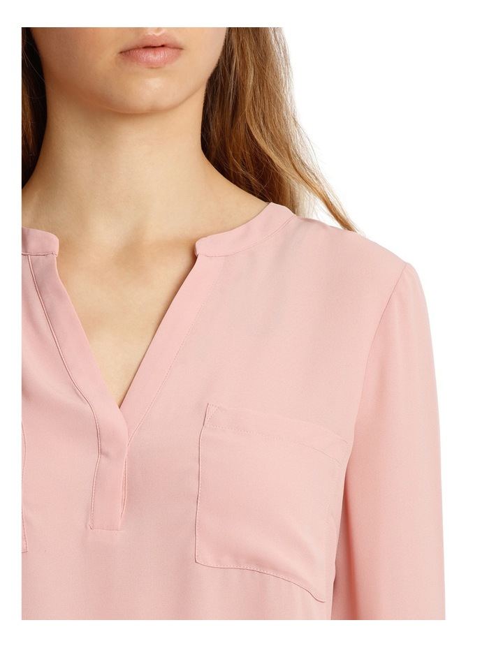 Collarless Double Pocket Shirt - Pink image 4