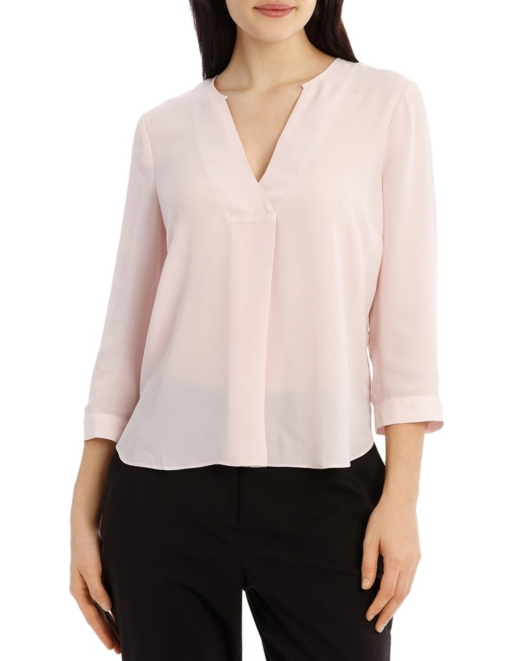 Cross Over Neck 3/4 Shirt - Powder Pink image 1