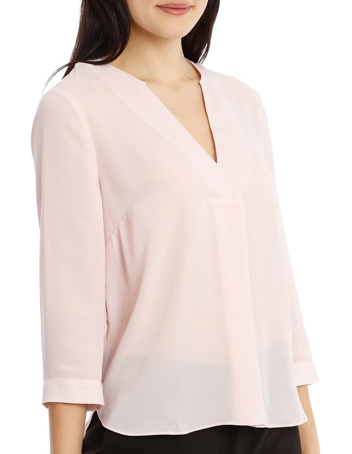 Cross Over Neck 3/4 Shirt - Powder Pink image 2