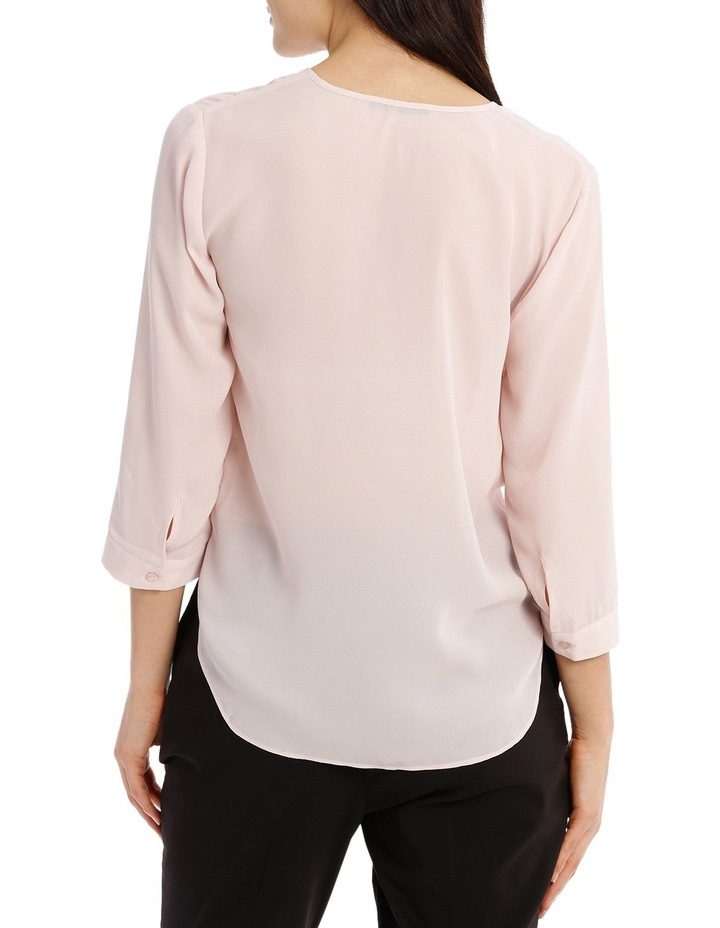 Cross Over Neck 3/4 Shirt - Powder Pink image 3