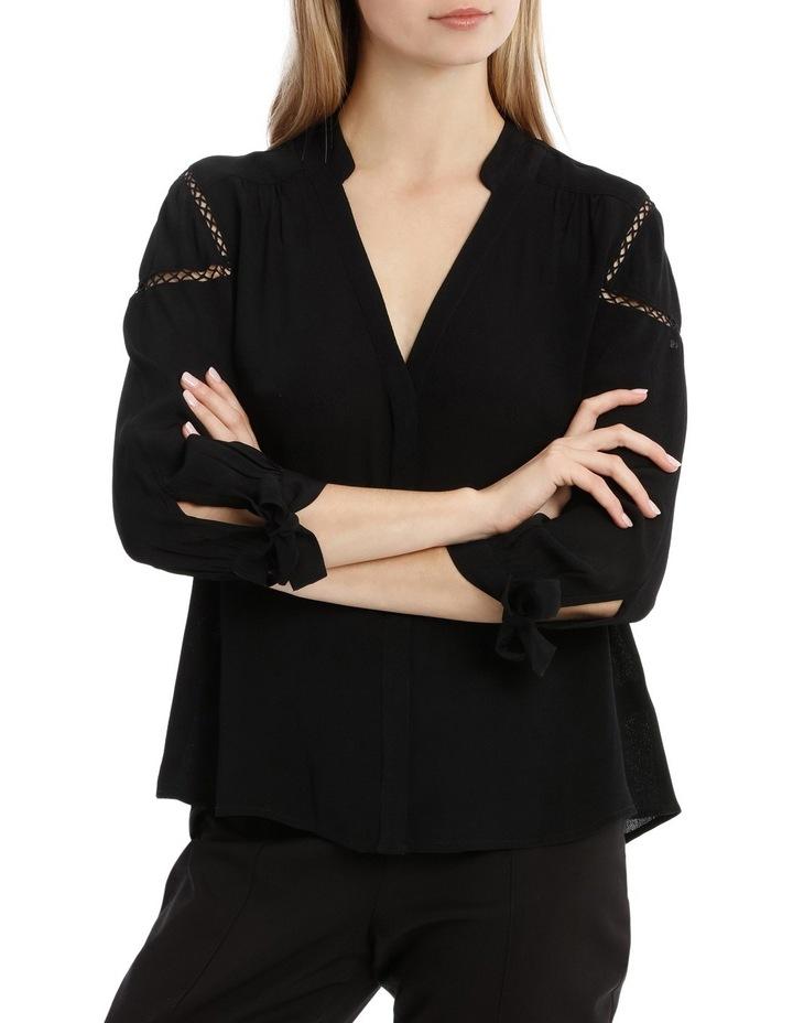 Tie Sleeve Lace Insert Shirt - Black image 1