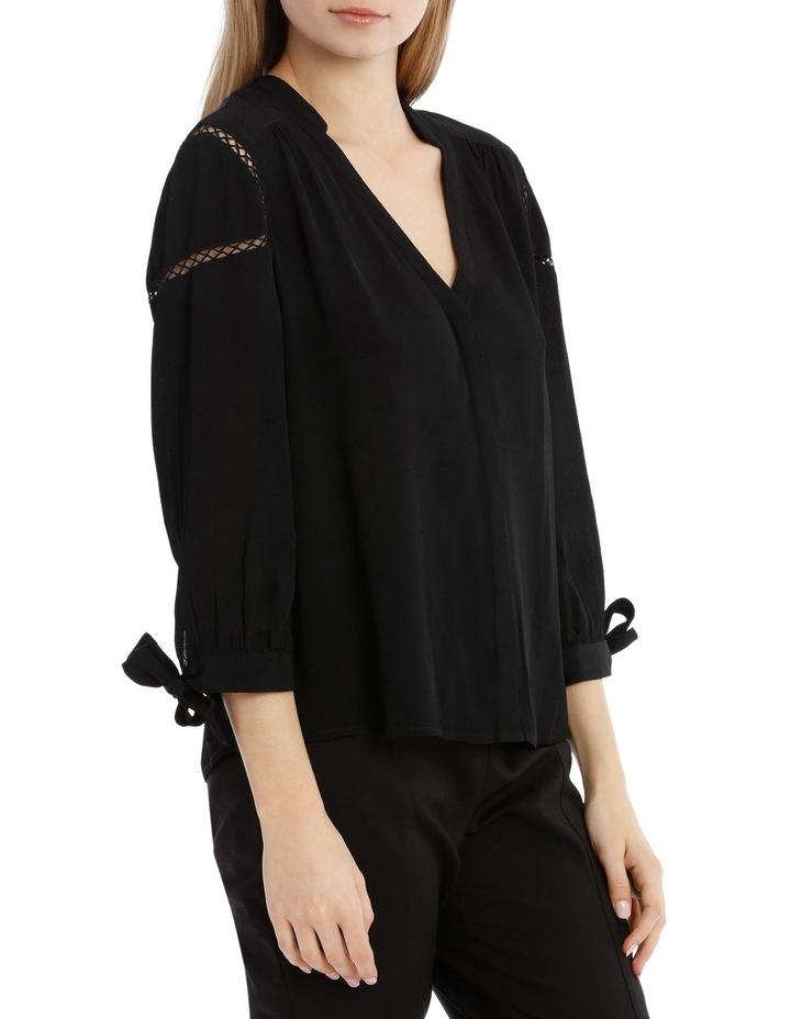 Tie Sleeve Lace Insert Shirt - Black image 2