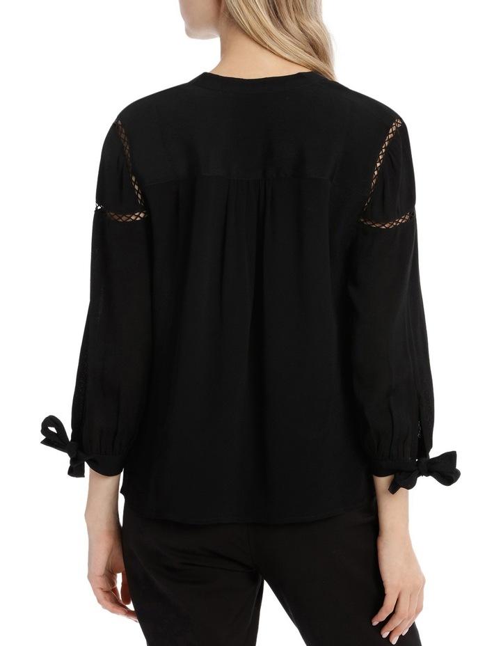 Tie Sleeve Lace Insert Shirt - Black image 3