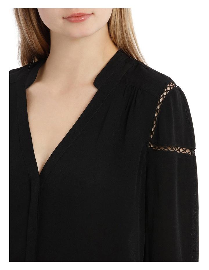 Tie Sleeve Lace Insert Shirt - Black image 4