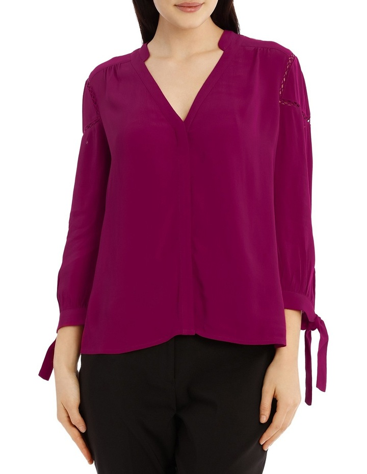 Tie Sleeve Lace Insert Shirt - Bright Plum image 1