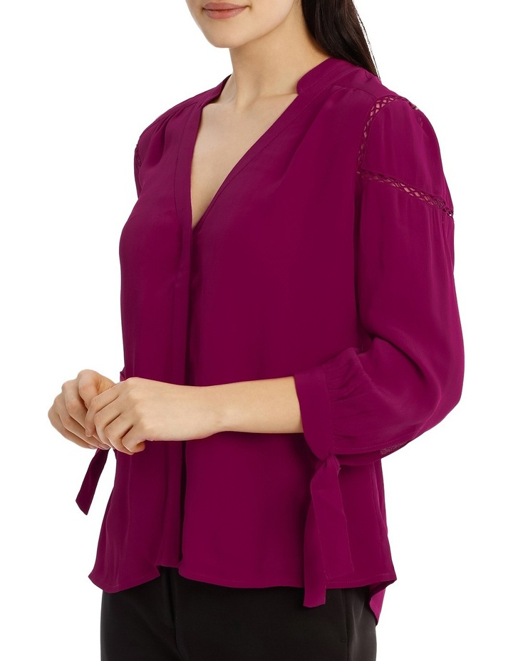Tie Sleeve Lace Insert Shirt - Bright Plum image 2