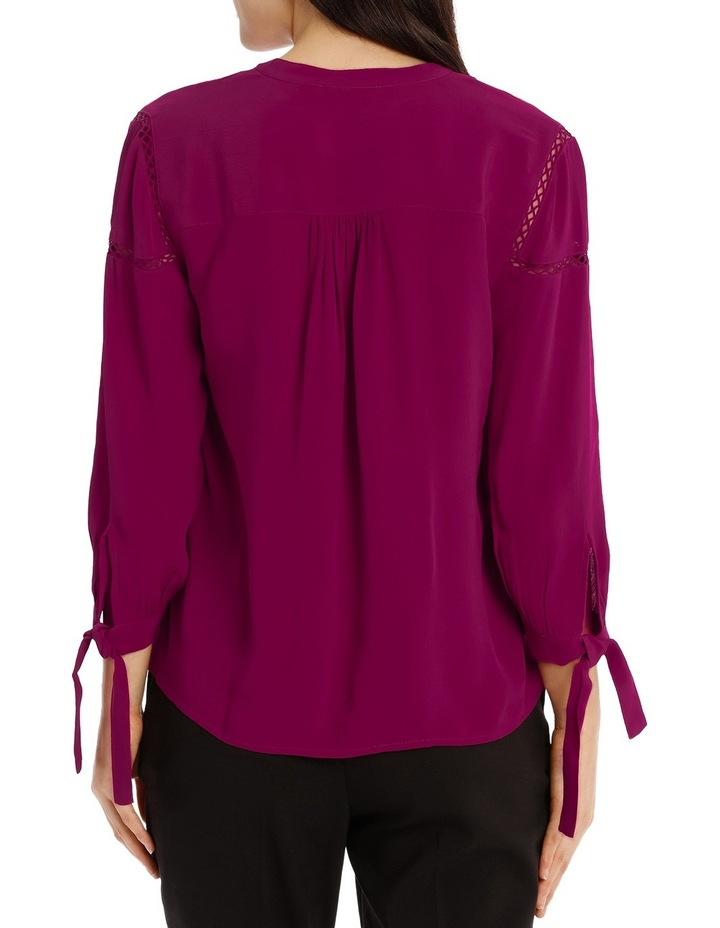 Tie Sleeve Lace Insert Shirt - Bright Plum image 3