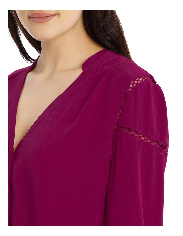 Tie Sleeve Lace Insert Shirt - Bright Plum image 4