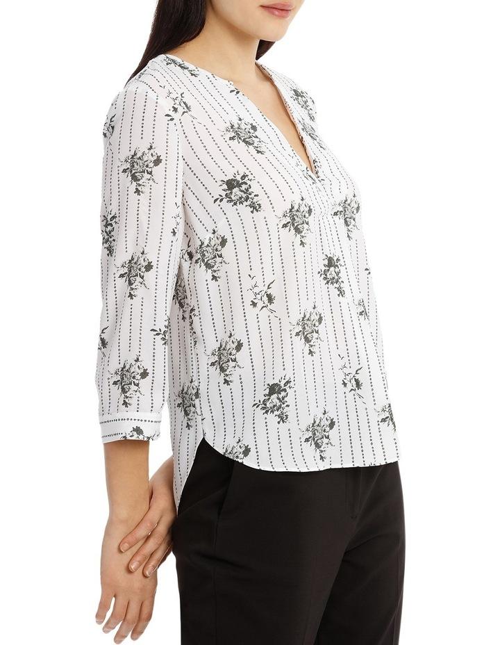 Cross Over Neck 3/4 Shirt - Floral Stripe image 2
