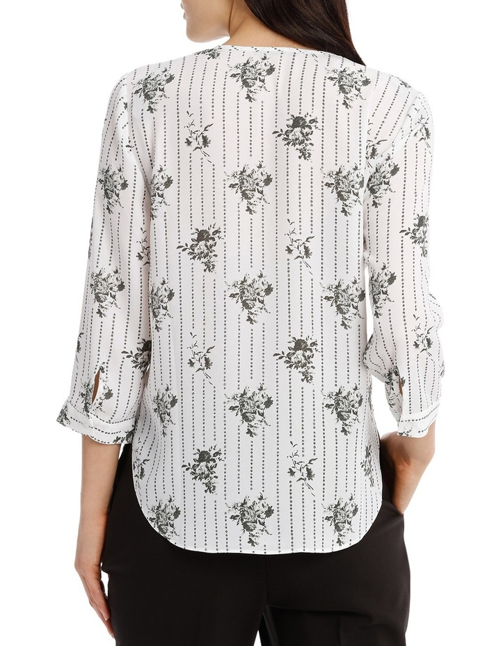 Cross Over Neck 3/4 Shirt - Floral Stripe image 3