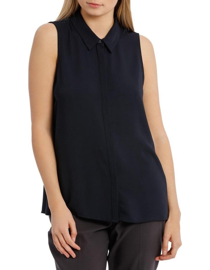 Sleevless Collared Shirt - Navy image 1