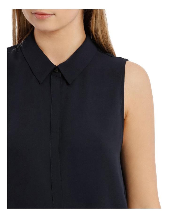 Sleevless Collared Shirt - Navy image 4