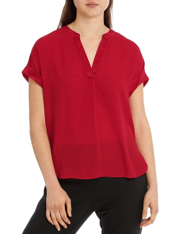 Satin Trim Short Sleeve Shirt - Rust image 1