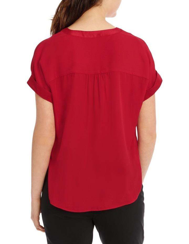 Satin Trim Short Sleeve Shirt - Rust image 3