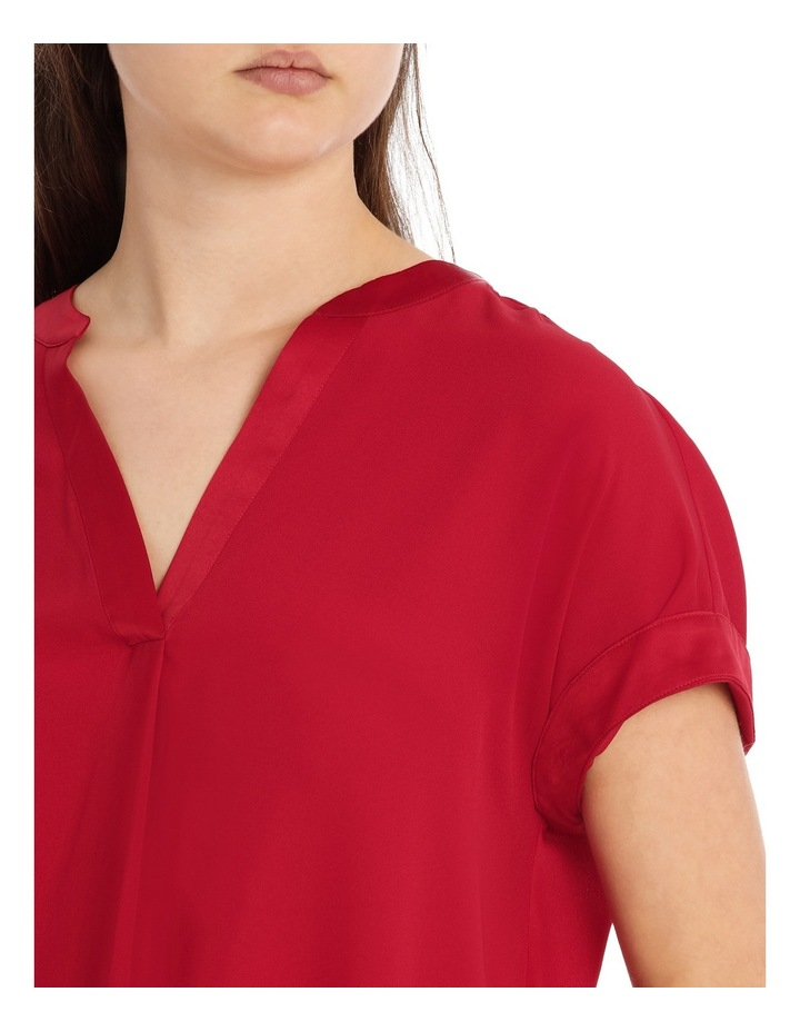 Satin Trim Short Sleeve Shirt - Rust image 4