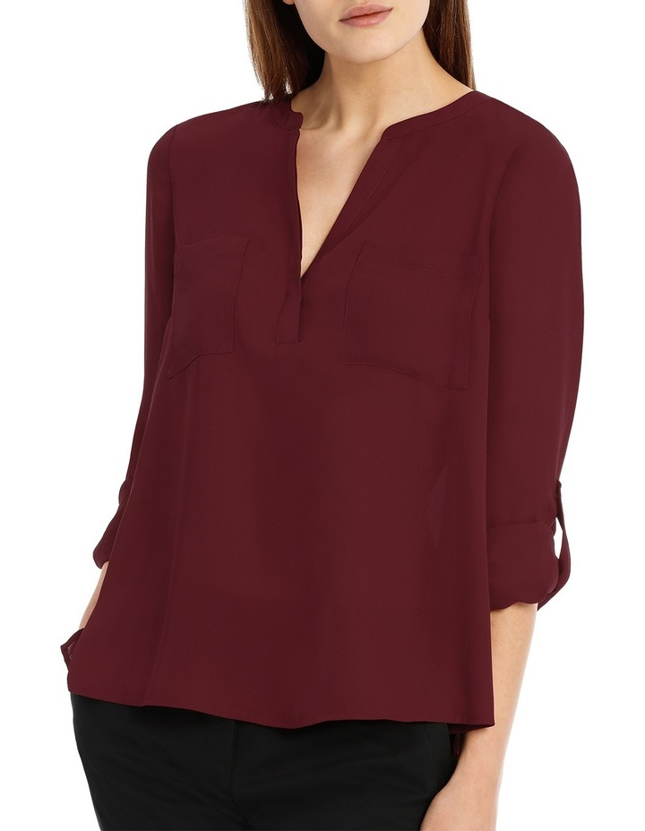 Double Pocket Roll Sleeve Shirt - Plum image 1