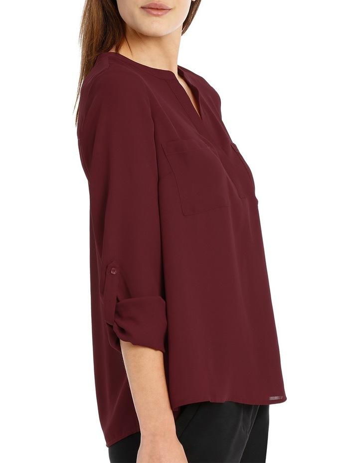Double Pocket Roll Sleeve Shirt - Plum image 2