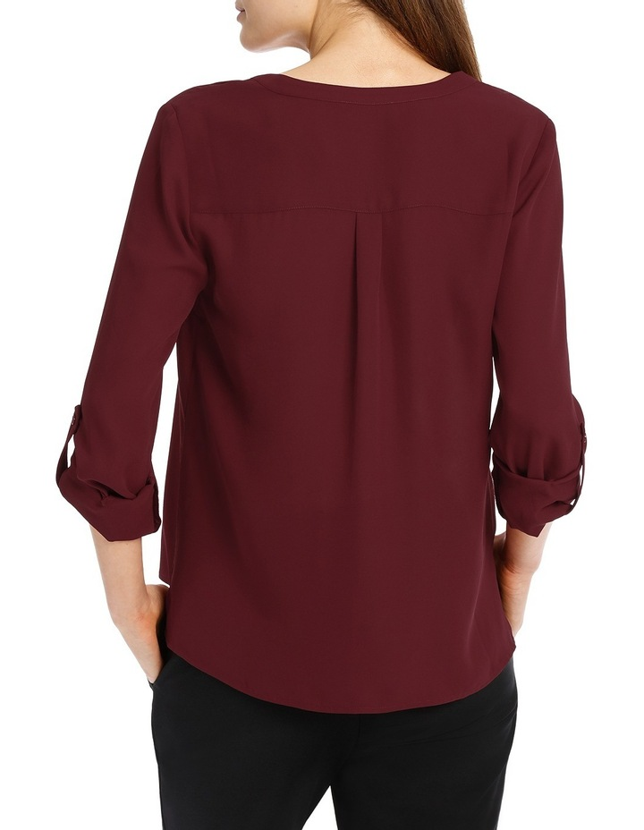 Double Pocket Roll Sleeve Shirt - Plum image 3